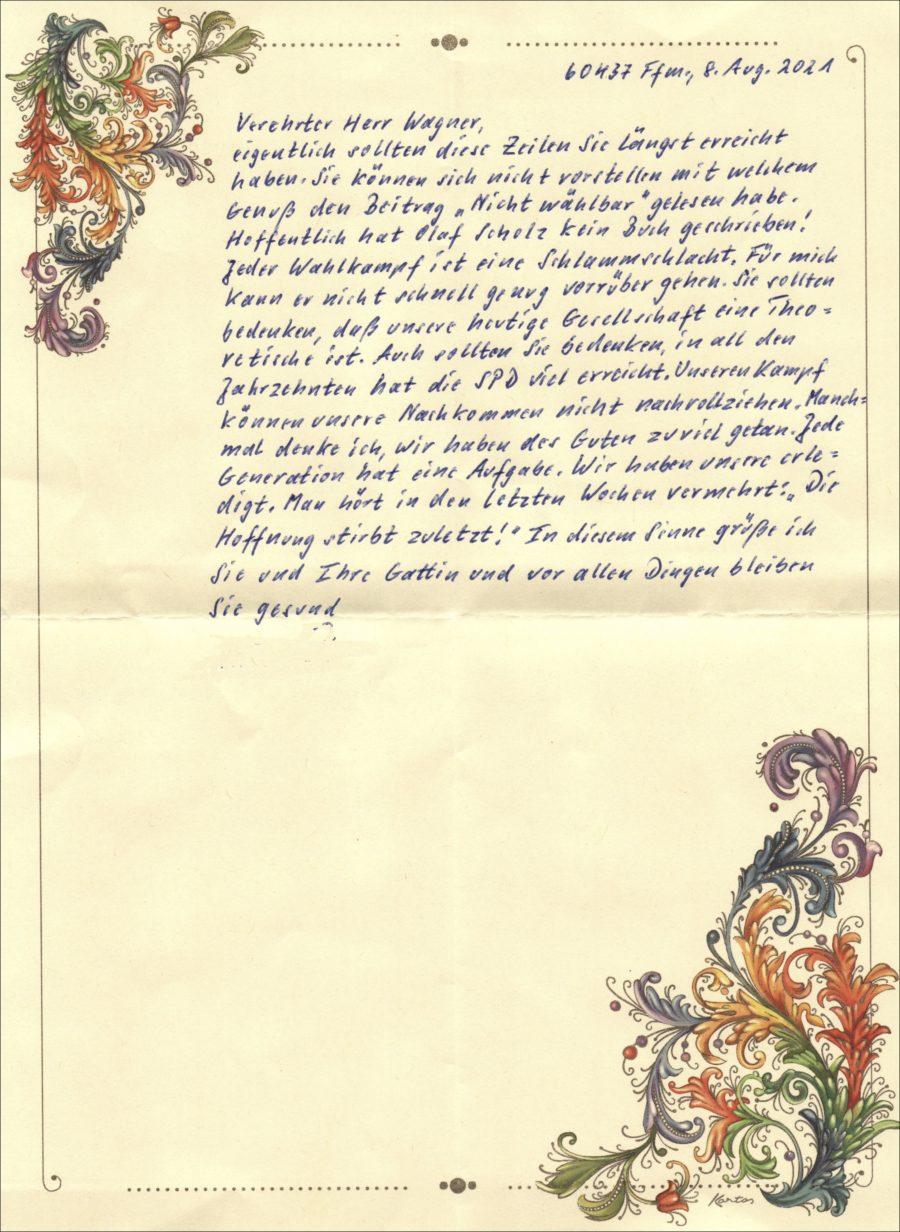 Brief an SPD Ortsverein Nieder-Erlenbach